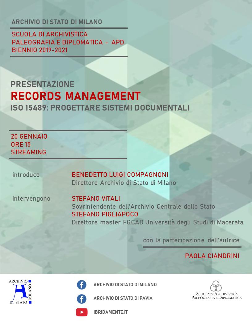 """Presentazione live streaming volume """"Records Management. ISO 15489: progettare sistemi documentali"""""""