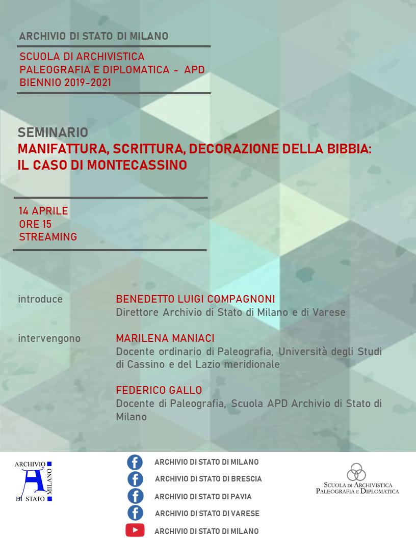 """Seminario """"Manifattura, scrittura, decorazione della Bibbia: il caso di Montecassino"""""""