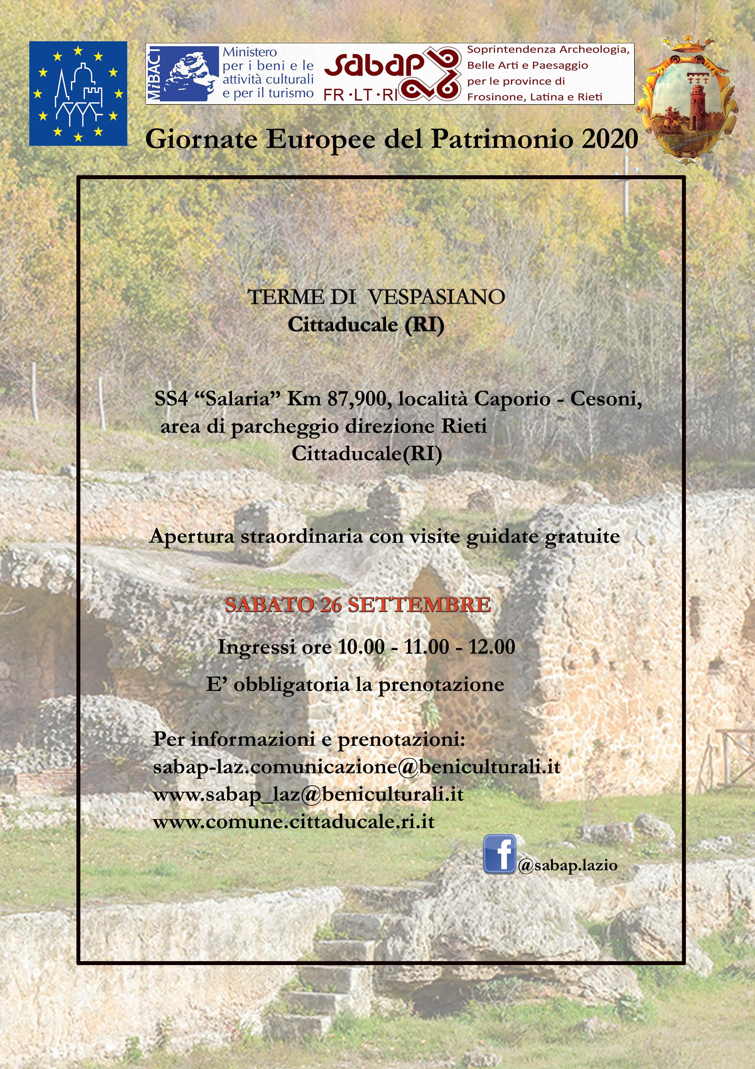Apertura straordinaria delle Terme di Vespasiano a Cittaducale