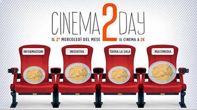 cover CINEMA2DAY AL CINEMA CON DUE EURO OGNI SECONDO MERCOLEDÌ DEL MESE